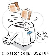 Clipart Of A Cartoon Toaster Startling Itself While Popping Out Toast Royalty Free Vector Illustration by Johnny Sajem