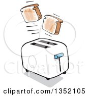 Clipart Of A Cartoon Toaster Popping Out Toast Royalty Free Vector Illustration by Johnny Sajem