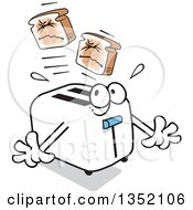Clipart Of A Cartoon Toaster Popping Out Hurting Squinting Toast Royalty Free Vector Illustration by Johnny Sajem