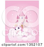 Clipart Of A Pink Fairy Tale Castle In The Sky With A Cute Resting Princess Pony Royalty Free Vector Illustration by Pushkin