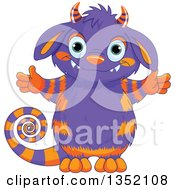 Clipart Of A Cute Welcoming Purple And Orange Monster With A Curly Tail Royalty Free Vector Illustration