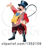 Clipart Of A Presenting Enthusiastic White Male Circus Ringmaster Royalty Free Vector Illustration