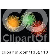 Clipart Of Orange Green And Red Holiday Fireworks Exploding In A Dark Night Sky Royalty Free Vector Illustration by Pushkin