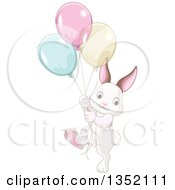 Clipart Of A Cute Bunny Rabbit Marching With Colorful Party Balloons Royalty Free Vector Illustration