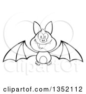 Outline Clipart Of A Cartoon Black And White Halloween Flying Vampire Bat Royalty Free Lineart Vector Illustration by Hit Toon