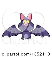 Clipart Of A Cartoon Halloween Flying Purple Vampire Bat Royalty Free Vector Illustration by Hit Toon
