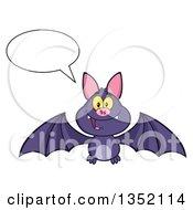 Clipart Of A Cartoon Halloween Flying Purple Vampire Bat Talking Royalty Free Vector Illustration