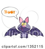 Clipart Of A Cartoon Halloween Flying Purple Vampire Bat Saying Boo Royalty Free Vector Illustration by Hit Toon