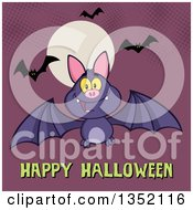 Clipart Of A Cartoon Flying Purple Vampire Bat Over Happy Halloween Text And A Full Moon On Purple With Halftone Royalty Free Vector Illustration