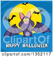 Clipart Of A Cartoon Flying Purple Vampire Bat Over Happy Halloween Text And A Full Moon On Blue Royalty Free Vector Illustration by Hit Toon