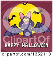 Clipart Of A Cartoon Flying Purple Vampire Bat Over Happy Halloween Text And A Full Moon On Purple Royalty Free Vector Illustration by Hit Toon