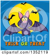 Clipart Of A Cartoon Halloween Flying Purple Vampire Bat Over Trick Or Treat Text And A Full Moon On Blue Royalty Free Vector Illustration by Hit Toon