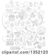 Outline Clipart Of Cartoon Black And White Cute Animals Toys And Other Items Royalty Free Lineart Vector Illustration by Alex Bannykh