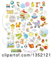 Clipart Of Cartoon Cute Animals Toys And Other Items Royalty Free Vector Illustration by Alex Bannykh