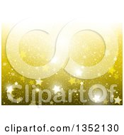 Clipart Of A Background Of Sparkly Stars On Gold Royalty Free Vector Illustration