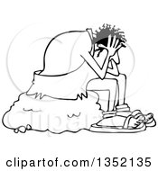 Outline Clipart Of A Cartoon Black And White Stressed Caveman Sitting On A Boulder And Resting His Head In His Hands Royalty Free Lineart Vector Illustration by djart