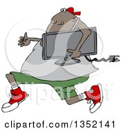 Cartoon Chubby Black Juvenile Deliquent Man Looting And Running With A Stolen Television