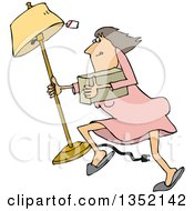 Clipart Of A Cartoon White Woman Looting And Running With A Stolen Lamp Royalty Free Vector Illustration