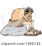 Clipart Of A Cartoon Stressed Caveman Sitting On A Boulder And Resting His Head In His Hands Royalty Free Vector Illustration