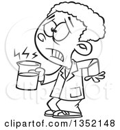 Outline Clipart Of A Cartoon Black And White African School Boy Holding A Hot Cup In Science Class Royalty Free Lineart Vector Illustration