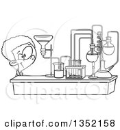Outline Clipart Of A Cartoon Black And White African School Boy Looking At His Lab Setup In Science Class Royalty Free Lineart Vector Illustration