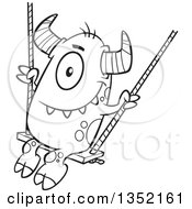 Outline Clipart Of A Cartoon Black And White Horned Monster On A Swing Royalty Free Lineart Vector Illustration