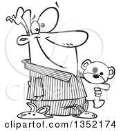 Outline Clipart Of A Cartoon Black And White Happy Man In His Pajamas And Bunny Slippers Holding A Teddy Bear Royalty Free Lineart Vector Illustration