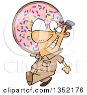 Clipart Of A Cartoon Happy White Worker Man Carrying A Giant Sprinkle Donut Royalty Free Vector Illustration by toonaday