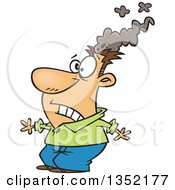 Clipart Of A Cartoon White Brain Blasted Man With A Smoking Head Royalty Free Vector Illustration