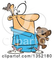 Clipart Of A Cartoon Happy White Man In His Pajamas And Bunny Slippers Holding A Teddy Bear Royalty Free Vector Illustration