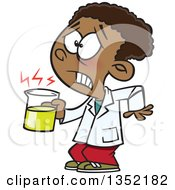 Clipart Of A Cartoon Black School Boy Holding A Hot Cup In Science Class Royalty Free Vector Illustration