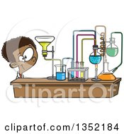 Clipart Of A Cartoon Black School Boy Looking At His Lab Setup In Science Class Royalty Free Vector Illustration