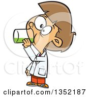 Clipart Of A Cartoon Brunette White Girl Drinking A Liquid In Science Class Royalty Free Vector Illustration by toonaday