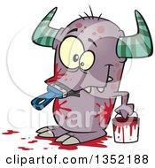 Cartoon Horned Monster Eating A Paintbrush Covered In Red Splatters