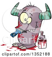 Clipart Of A Cartoon Horned Monster Eating A Paintbrush Covered In Red Splatters Royalty Free Vector Illustration by toonaday