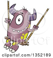 Clipart Of A Cartoon Horned Purple Monster On A Swing Royalty Free Vector Illustration