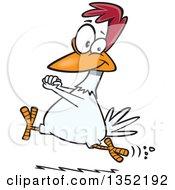 Cartoon Happy Chicken Running And Cheering
