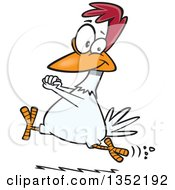 Clipart Of A Cartoon Happy Chicken Running And Cheering Royalty Free Vector Illustration