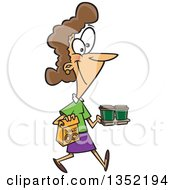 Cartoon Happy Brunette White Woman Carrying Coffee And Donuts