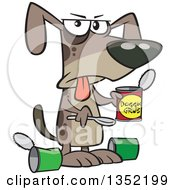 Clipart Of A Cartoon Dog Eating A Gross Can Of Wet Food Royalty Free Vector Illustration