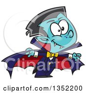 Clipart Of A Cartoon Halloween Vampire Boy Royalty Free Vector Illustration by toonaday