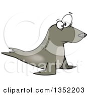 Clipart Of A Cartoon Staring Seal Royalty Free Vector Illustration