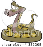 Clipart Of A Cartoon Annoyed Green Coiled Snake Royalty Free Vector Illustration by toonaday