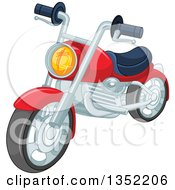 Clipart Of A Cartoon Red Motorcycle Royalty Free Vector Illustration