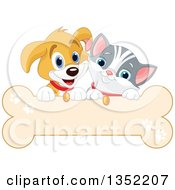 Clipart Of A Cute Beagle Puppy Dog And White And Gray Kitten Over A Bone Sign Royalty Free Vector Illustration