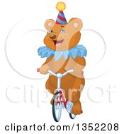 Clipart Of A Happy Brown Circus Bear Riding A Bicycle Royalty Free Vector Illustration