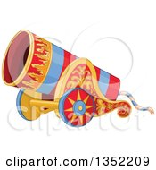 Clipart Of A Red And Blue Striped Circus Cannon With Flame Decals Royalty Free Vector Illustration by Pushkin