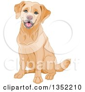 Clipart Of A Happy Yellow Labrador Retriever Dog Sitting Royalty Free Vector Illustration