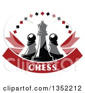 Clipart Of A Black Chess Queen Piece With Pawns With A Diamond Arch Over A Red Text Ribbon Banner Royalty Free Vector Illustration