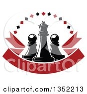 Clipart Of A Black Chess Queen Piece With Pawns With A Diamond Arch Over A Blank Red Ribbon Banner Royalty Free Vector Illustration by Vector Tradition SM